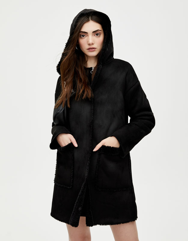 Mantel mit lammfellfutter
