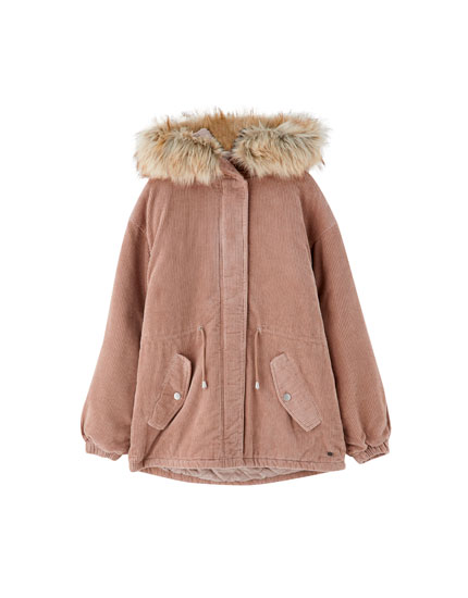 Corduroy parka with faux fur hood
