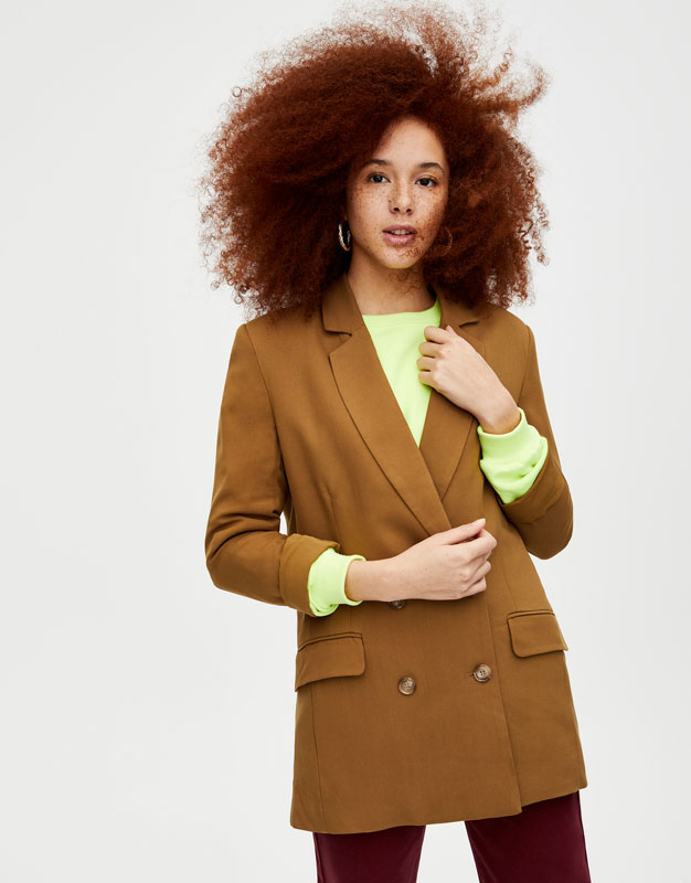 Long Notched Collar Blazer by Pull & Bear