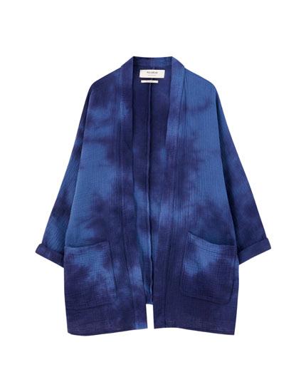 Kimono albastru cu mânecă scurtă