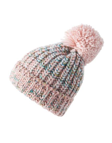 Flecked knit pompom hat