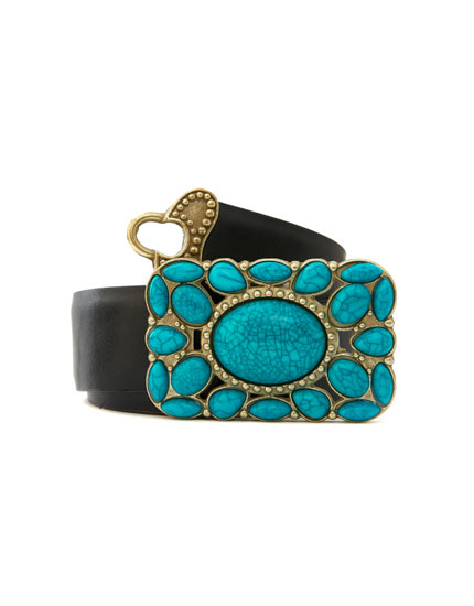 Belt with turquoise buckle