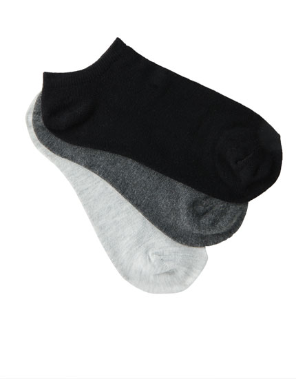 Pack of black and grey ankle socks