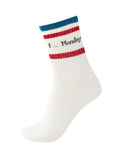 Long sports socks with stripes