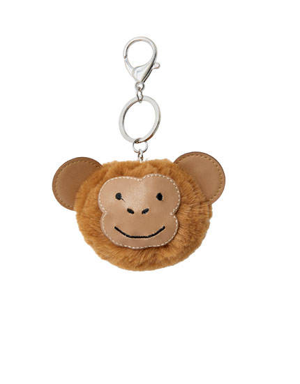 Fluffy monkey key ring
