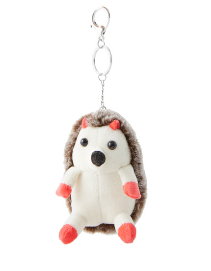 Fluffy hedgehog key ring