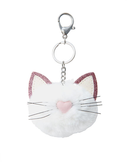 Glittery cat key ring