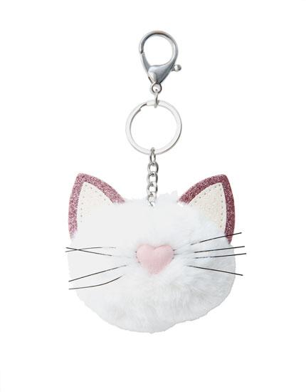 Schlüsselanhänger mit glitzernder Katze