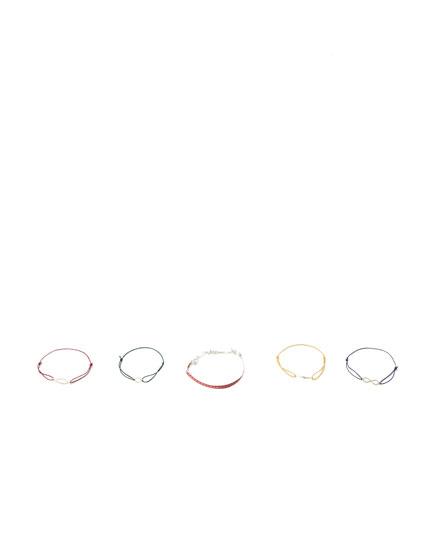 Pack of 5 charm bracelets
