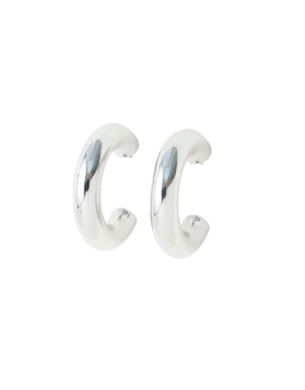 Thick hoop earrings with a silver-toned finish