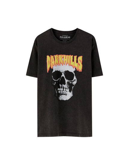 Skull and slogan T-shirt