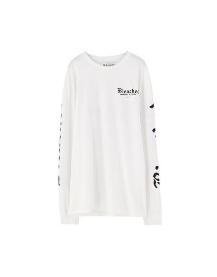 Yazılı uzun kollu t-shirt