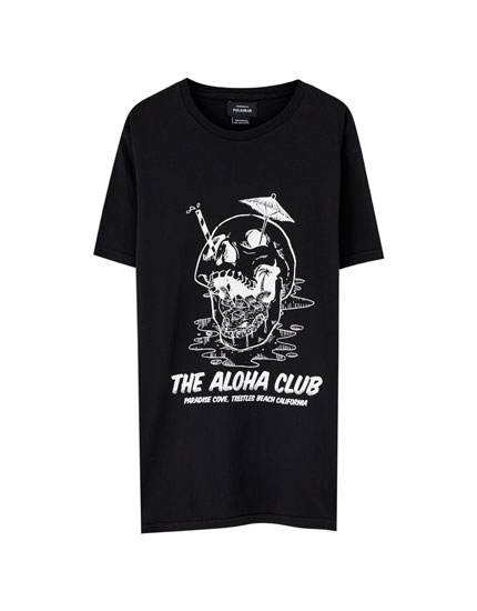 Black 'Aloha Club' T-shirt