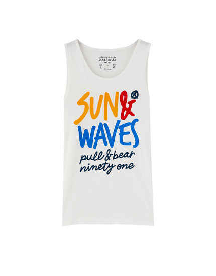 'Sun & Waves' print vest top