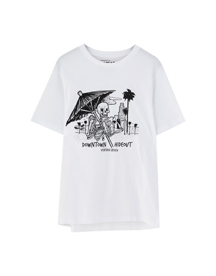 White T-shirt with front illustration