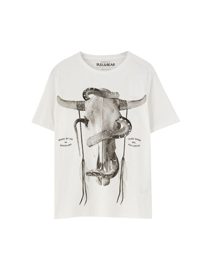 White T-shirt with skull print