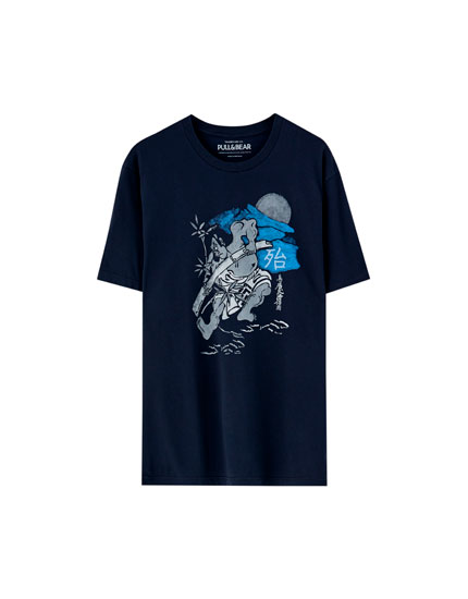 Indigo T-shirt with Japanese design