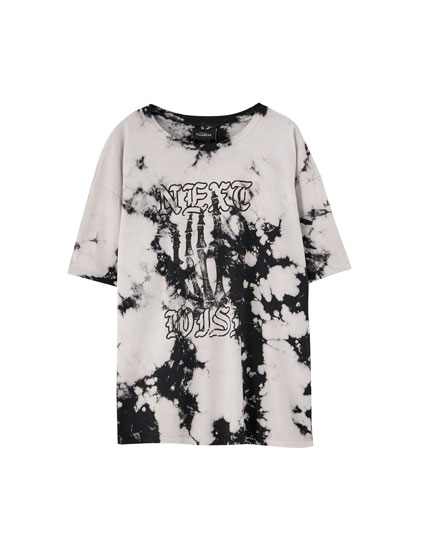 Tie-dye skeleton hand T-shirt