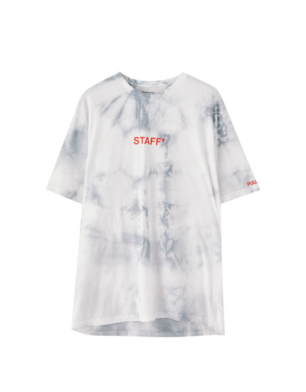Tie-dye T-shirt with slogan