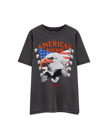 Black 'American Railway' T-shirt
