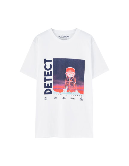 White T-shirt with illustration and slogan