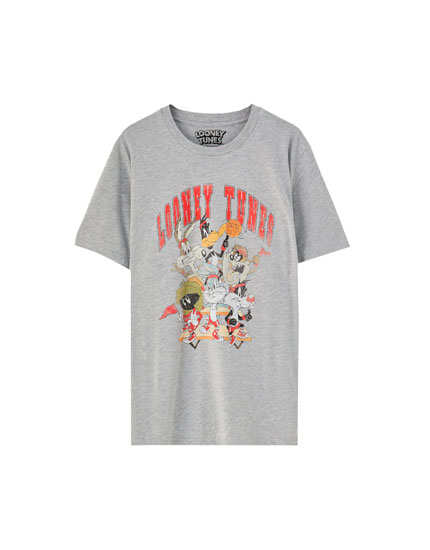 Grey Looney Tunes logo T-shirt