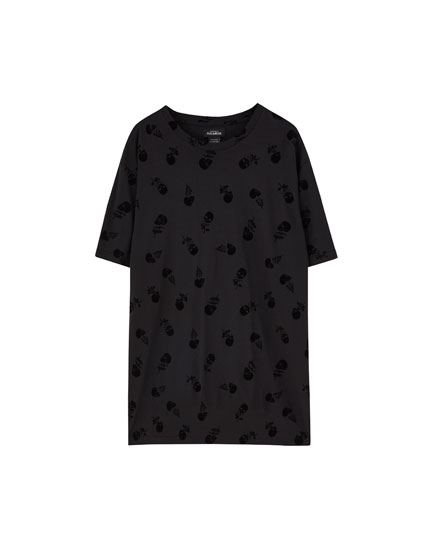 Shirt mit All-Over Totenkopfprint