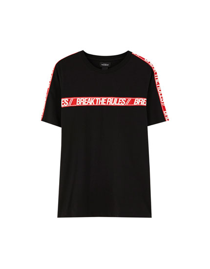T-shirt with slogan-printed chest taping
