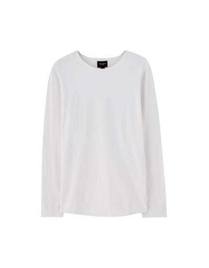 Round neck T-shirt with elastic hem