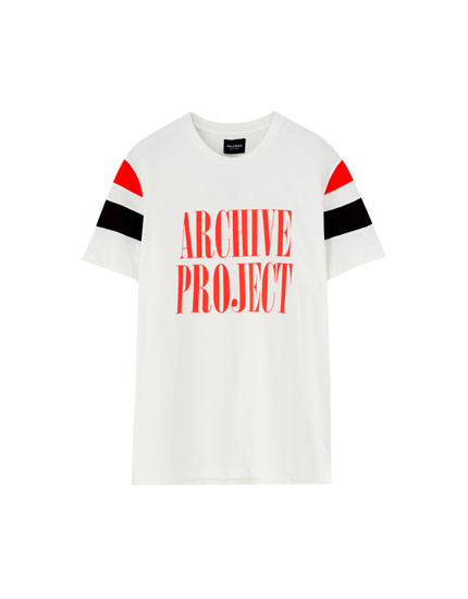 Slogan T-shirt with colour block sleeves