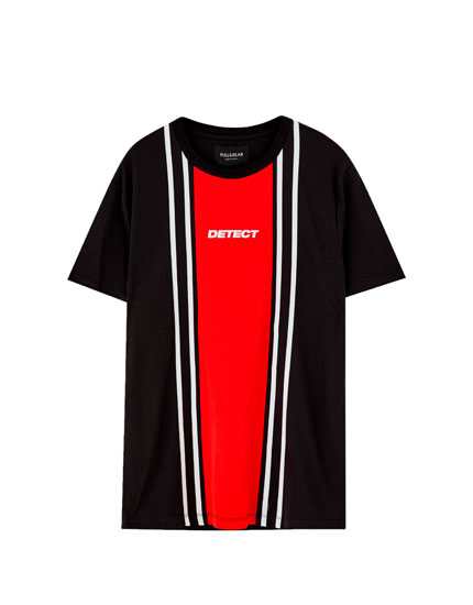 Vertical colour block T-shirt with slogan