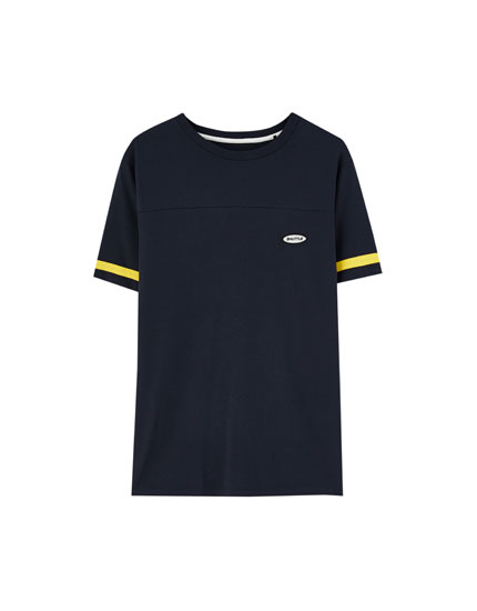Embroidered T-shirt with sleeve stripes