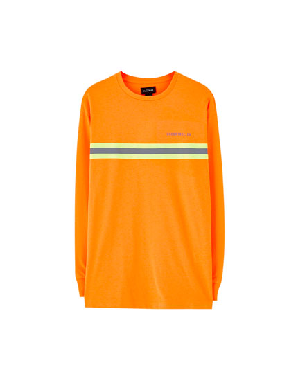 Neon orange T-shirt with strip