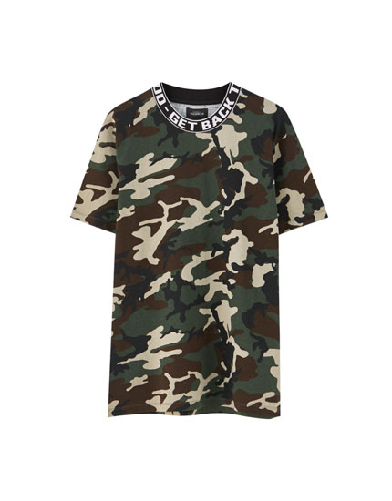 Camouflage T-shirt with ribbed neckline