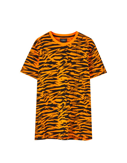 Orange zebra print T-shirt