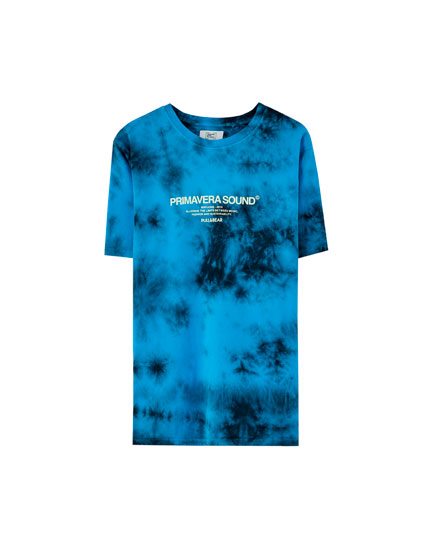 T-shirt tie-dye bleu Primavera Sound x Pull&Bear