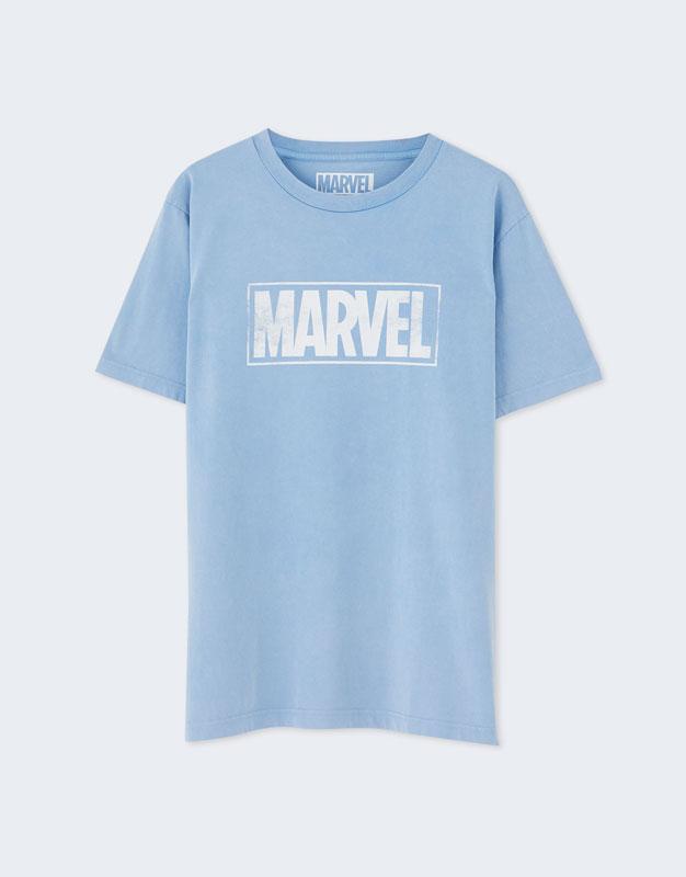 160f9588b7b40 PullAndBear - camiseta marvel manga corta colores - azul - 05246515-V2019