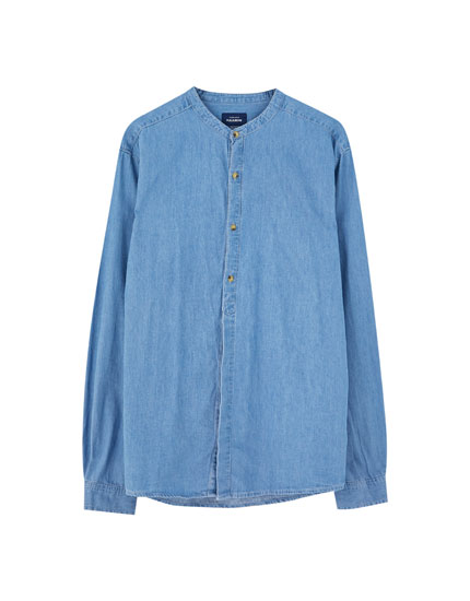 Denim shirt with stand-up collar