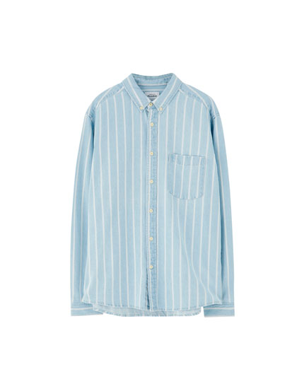 Pinstripe denim shirt