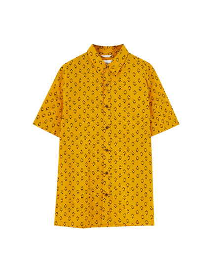 Short sleeve printed seersucker shirt