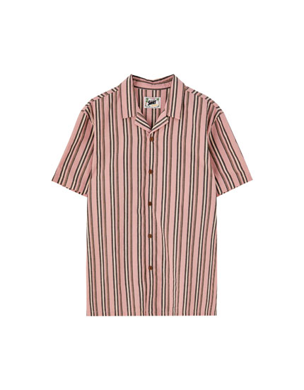 Striped poplin camp collar shirt