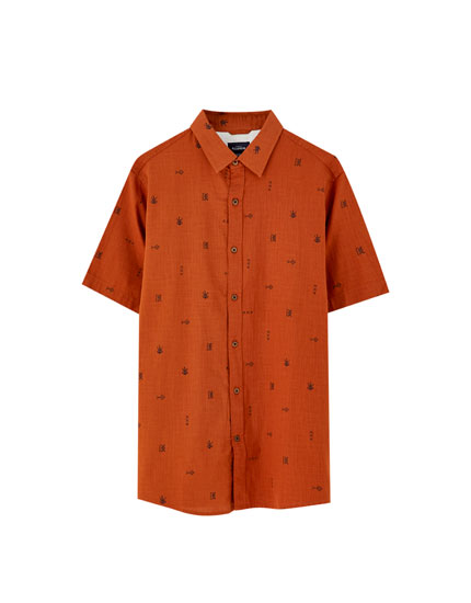 Embroidered microprint shirt