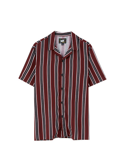 Striped viscose camp collar shirt