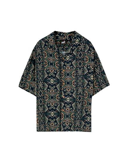 Vintage print viscose shirt