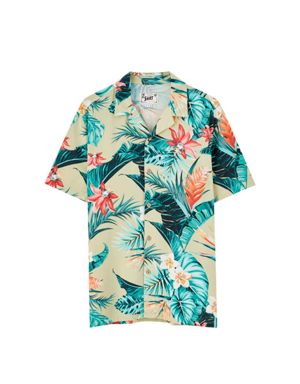 Green tropical flower print viscose shirt