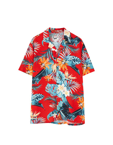 Red tropical flower print viscose shirt