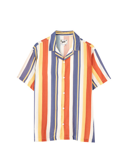 Short sleeve colourful striped shirt