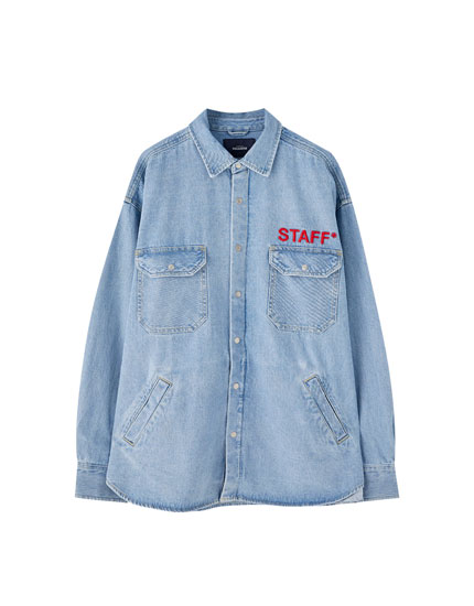 Long sleeve denim shirt with pockets