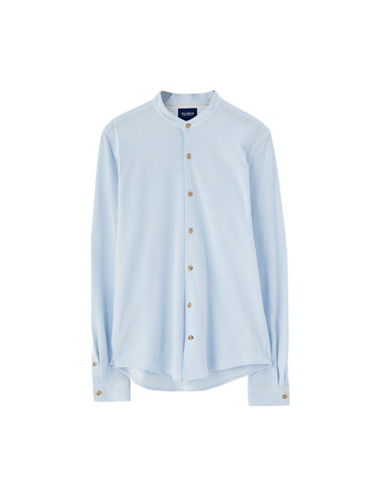 Piqué stand-up collar shirt