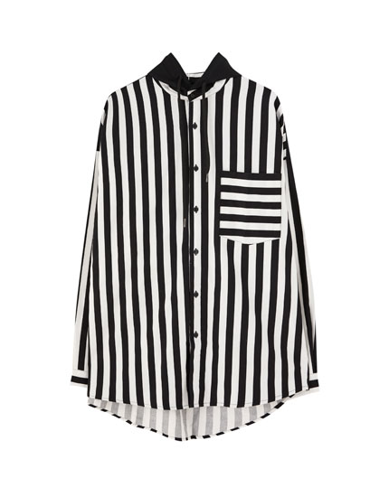 Striped hooded shirt